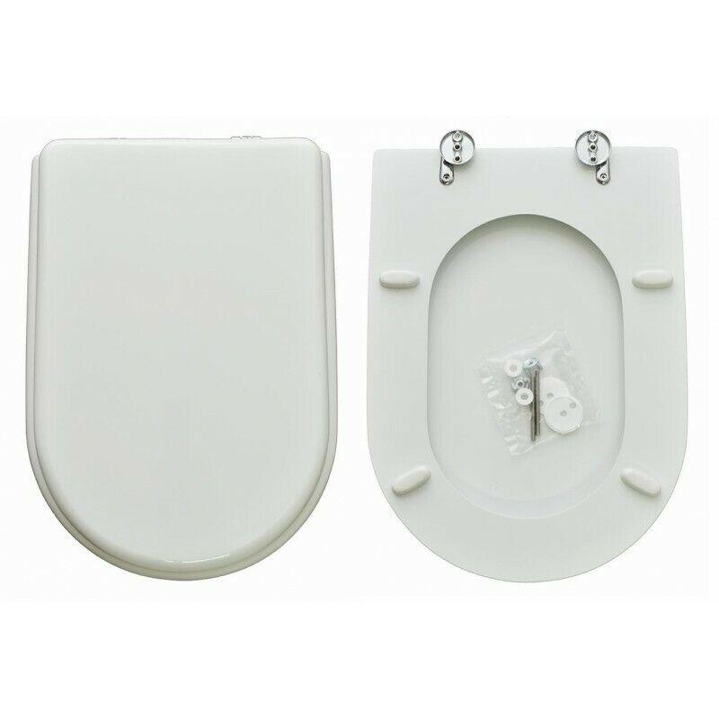 Sedile wc Copriwater SERIE ONDA HIDRA IN POLIESTERE Bianco Cerniere Cromo