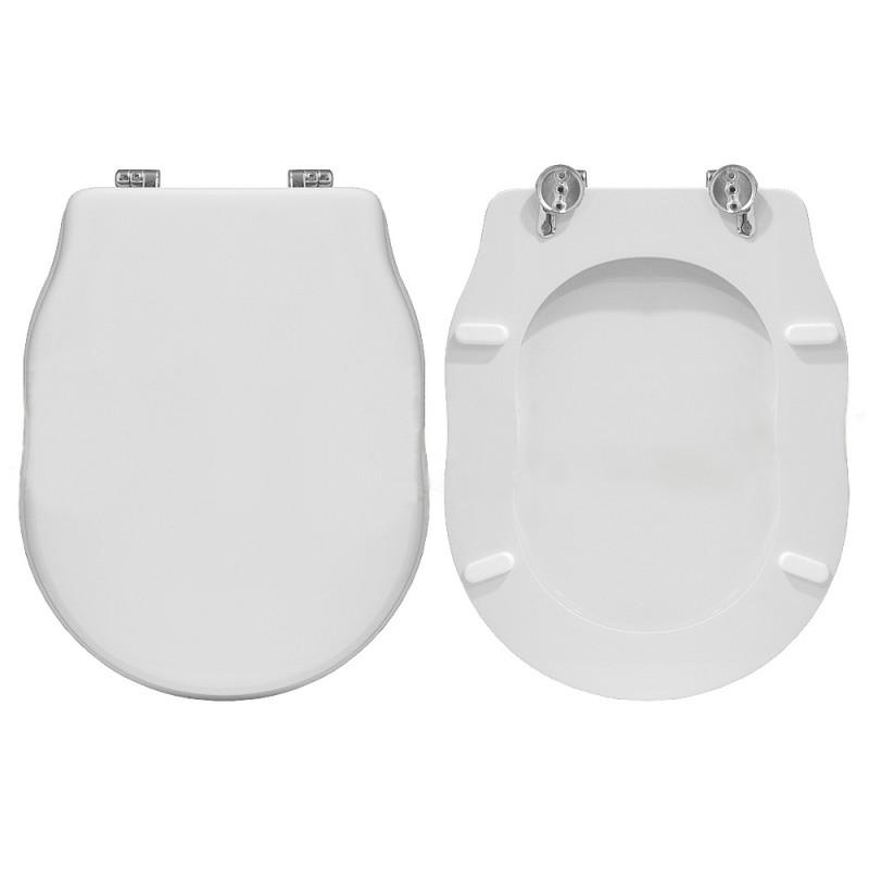 Sedile wc Copriwater SERIE ELLADE HIDRA IN POLIESTERE Bianco Cerniere Cromo